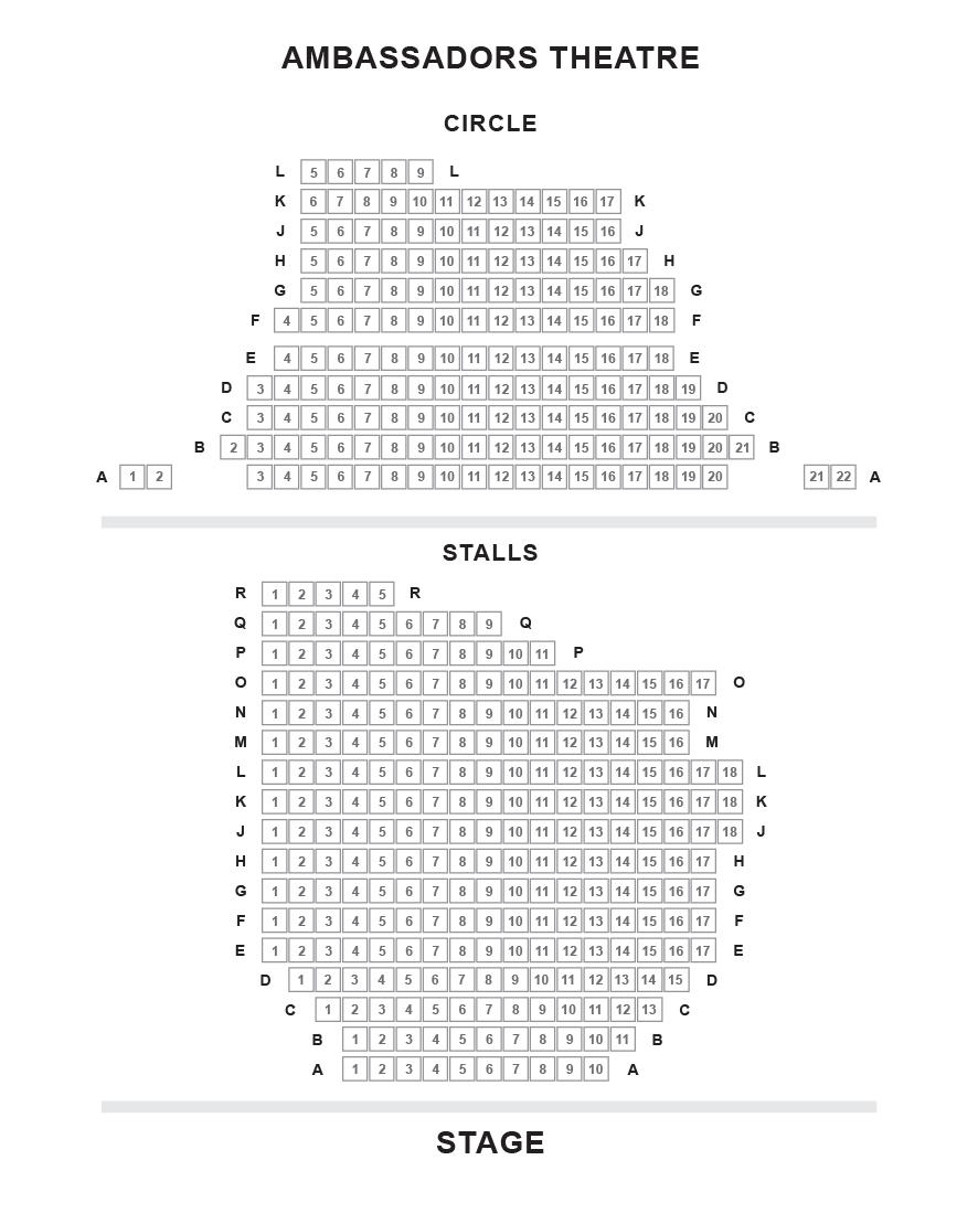 Ambassadors Theatre seating plan