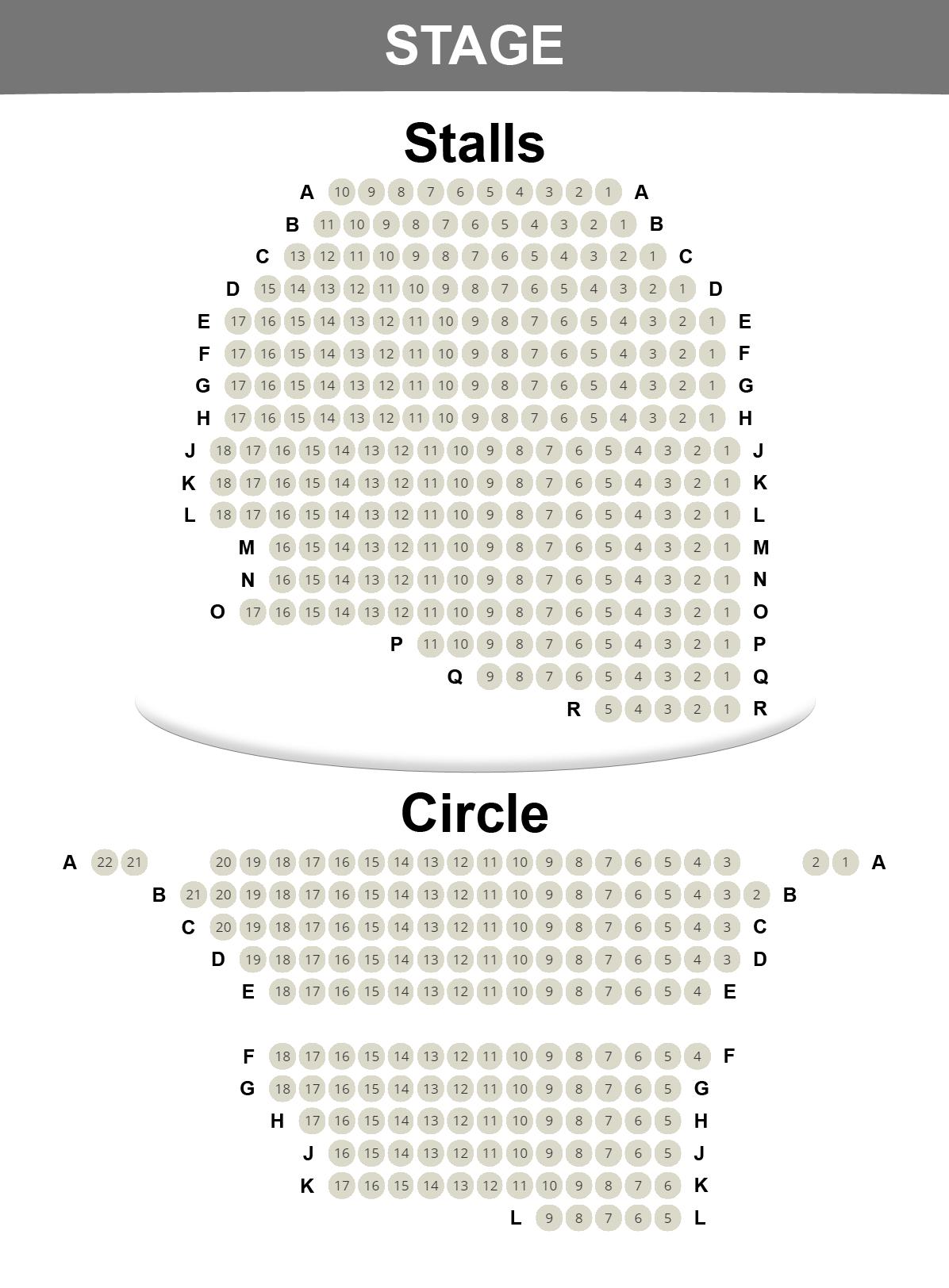 Ambassadors Theatre seating plan